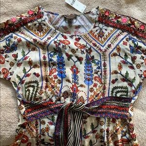 ANTHROPOLOGIE - Tie Front Blouse - Embroidered